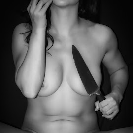 by Kathryn Potempski - Nudes & Boudoir Artistic Nude ( blackandwhite, concept, model, monochrome, nude, boudoir, apple, artistic nude, knife )
