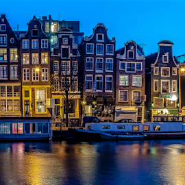 Homes! by Jesus Giraldo - Buildings & Architecture Homes ( water, urban, blue, colors, boats, buildings, reflections, night, amsterdam, homes, city )