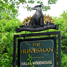 Welcome to the Huntsman by DJ Cockburn - Artistic Objects Signs ( england, art, britain, sign, advertising, carving, ivy, badger, kent, undergrowth, uk, eridge, catering, the huntsman, wood, pub, brand )