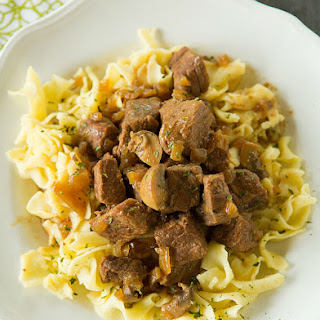 Slow Cooker Beef Tips with Mushrooms and Egg Noodles