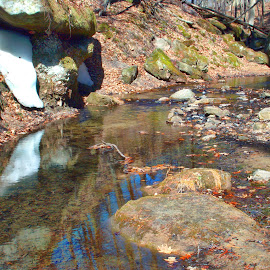 Winters Last Stronghold by Ray Gradel - Nature Up Close Water ( stream, blue sky, snow, reflections, spring )