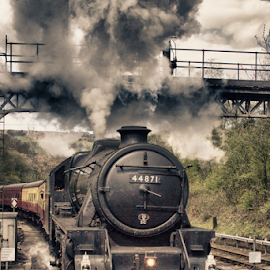 Letting off Steam by Dez Green - Transportation Trains ( vintage, steam train, heritage, trains, steam )