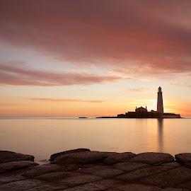 St Marys Sunrise by Charlie Davidson - Landscapes Sunsets & Sunrises ( lighthouse, sea, long exposure, seascape, sunrise, landscape )