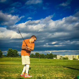 Bent Backswing  by William Case - Sports & Fitness Golf ( games, special olympics, golf course, autism, summer, golf, virginia, game, fun )
