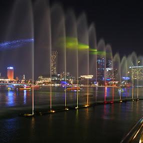 Marina Bay by Mulawardi Sutanto - City,  Street & Park  Fountains ( fountain, travel, marina bay, singapore, city )