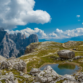 by Mario Horvat - Landscapes Mountains & Hills ( sky, dolomites, mountains, puddles, clouds, dolomiti, italy, landscape )