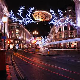 Lights by Vineet Johri - Public Holidays Christmas ( lights, uk, london, decoration, christmas, night, festival, night lighting street,  )