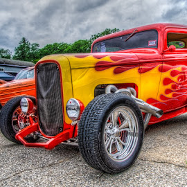 Chariot Of Fire by Chris Cavallo - Transportation Automobiles ( hot rod, red car, hdr, fire, car show, flames )