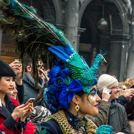 pheasant by Szabolcs Dudás - People Musicians & Entertainers ( venezia, pheasant, carnival, venice, costume, mask, carnivale )