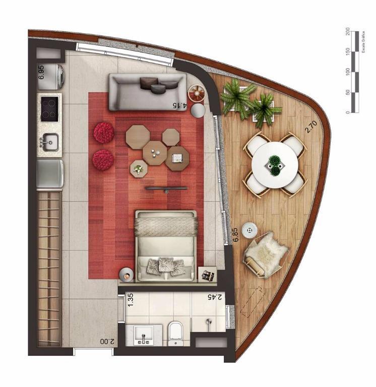 Apto 48,50 m² Layout 1
