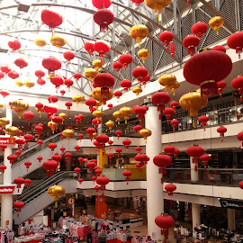 Red Lanterns by Chaitali Dhua - Artistic Objects Other Objects ( shopping mall, colour, festive, building, red, decoration, lanterns,  )