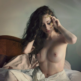 by B Lynn - Nudes & Boudoir Artistic Nude ( bedroom., lighting., scene., whites., white. )