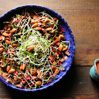 Swiss Chard, Sprout and Toasted Almond Salad with Strawberry Balsamic ...