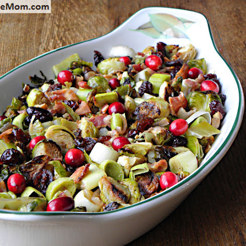 Roasted Brussels Sprout with Leeks, Bacon & Cranberries