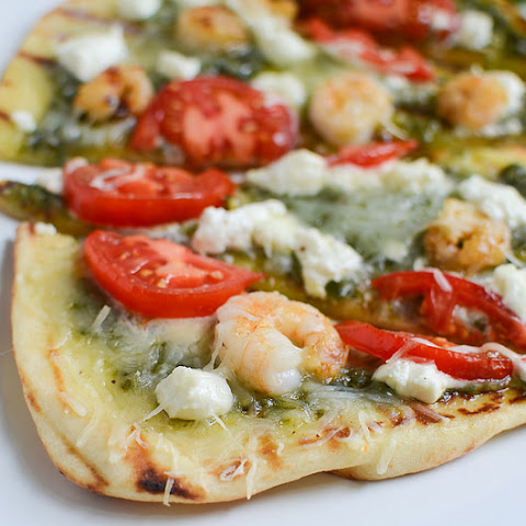 Grilled Shrimp and Goat Cheese Naan Pizza