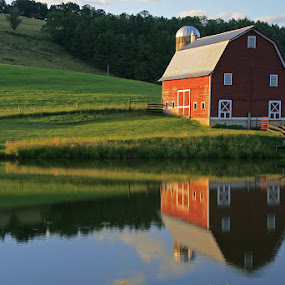 Barn Reflection by Gwen Paton - Buildings & Architecture Other Interior ( farm, reflection, red barn, barn, west virginia, pond,  )