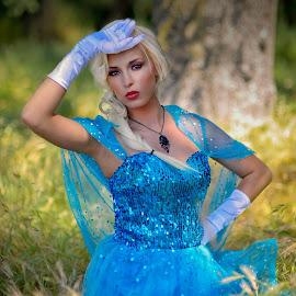 Elsa in the Forest by Les Walker - People Portraits of Women ( queen, ice, beautiful, frozen, elsa, blue dress, character,  )