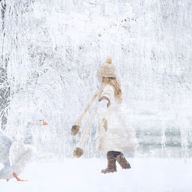 winter by Kathleen Devai - Illustration Sci Fi & Fantasy ( girl, winter, snow, goose )