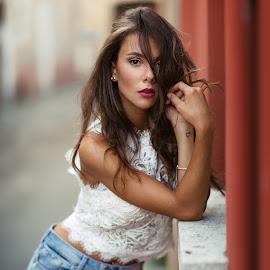 Veronica by Luca Foscili - People Portraits of Women ( face, model, fashion, colorful, beauty, bokeh, eyes, girl, italia, d800, woman, inked, luca foscili, tattoo, nikon, hair, italy, light, eye, beautiful, jeans, portrait, ink, nikon d800, outdoors, shorts, summer )