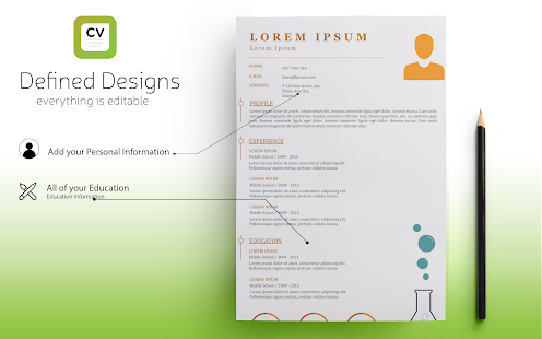 Resume Builder - Curriculum Vitae & Resume designs Screenshot