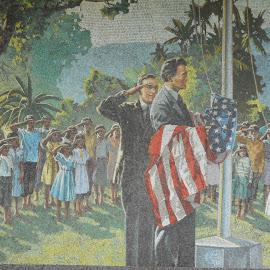 Old Beautiful by David Jarrard - City,  Street & Park  Street Scenes ( patriotic scenes, art, american flag, removing the flag )