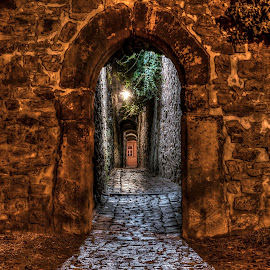 The mysterious aisle... by Martin Namesny - City,  Street & Park  Historic Districts ( walls, old, aisle, nighttime, mysterious, night, gate )