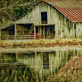 Red Barn by Allen Crenshaw - Painting All Painting ( farm, red barn, barn, painting from photograph, painting, pond, rural, arkansas )