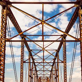 Blue Skies by Jennifer  Loper  - Buildings & Architecture Bridges & Suspended Structures ( blue sky, old, white clouds, iron, bridge, oklahoma, lake )
