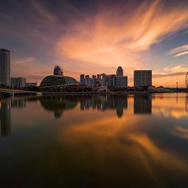 by Gordon Koh - City,  Street & Park  Vistas ( singapore river, sunrise, reflection, city, asia, skyline, singapore flyer, singapore, urban, buildings, marina bay sands, cityscape, river )