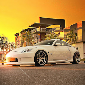 White Knight by Rashid Mohamad - Transportation Automobiles ( automobile, sunset, yellow, nissan, 350z )