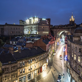 Newcastle's Side by Adam Lang - City,  Street & Park  Night ( lights, street, night, newcastle, the side )