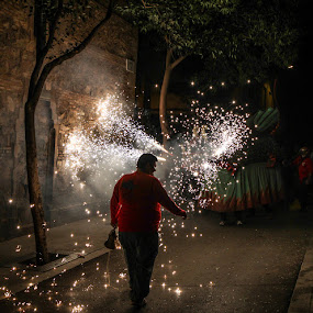 Man against dragon by Bim Bom - City,  Street & Park  Street Scenes ( fiesta festiva barcelona carrefoc man dragon fireworks fire night street, night, lights )