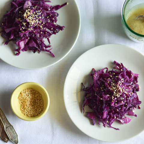 Warm Cabbage Salad with Roasted Garlic Dressing