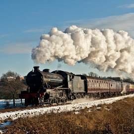'K4 in Snow' by Katherine Flynn - Transportation Trains ( railway, steam train, snow, train, steam,  )