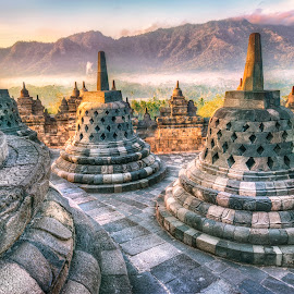Borobudur Foggy Sunrise by Rilo Sadewa - Buildings & Architecture Public & Historical