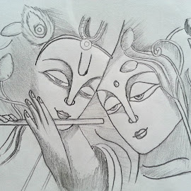 Radha Krisha  by Vipul Sodhi - Drawing All Drawing ( love, pencil, krishna, art, shade, drawing, radha )