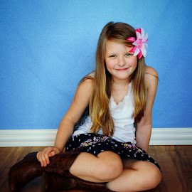Cowgirl by Shelly Smedstad - Babies & Children Child Portraits ( bowl, girl, blue eyes, cowgirl, boots,  )