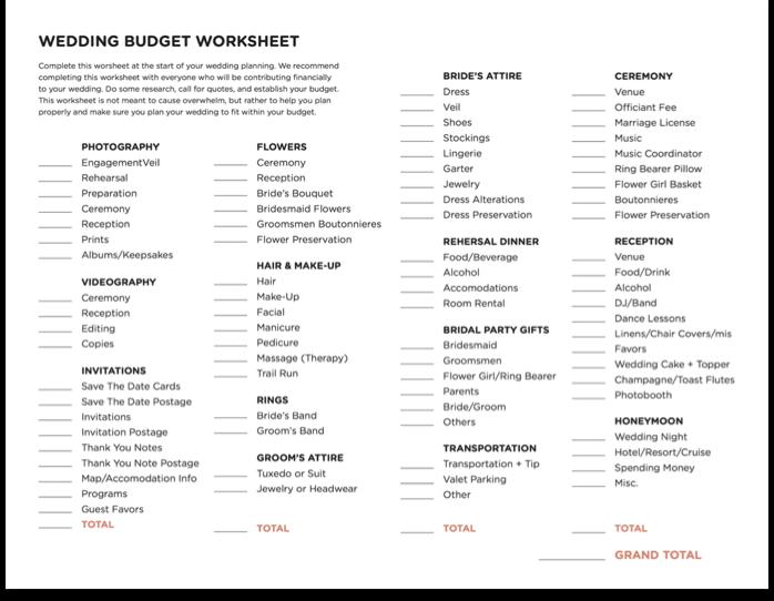 wedding budget worksheet – First Step Worksheet
