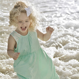 Fun at the beach by Terri Cox - Babies & Children Children Candids ( water, playful, waves, blond, play, fun, beach, sun, playing, refreshing, laughing, curly, summer, sunshine, smile, hair, laughter )