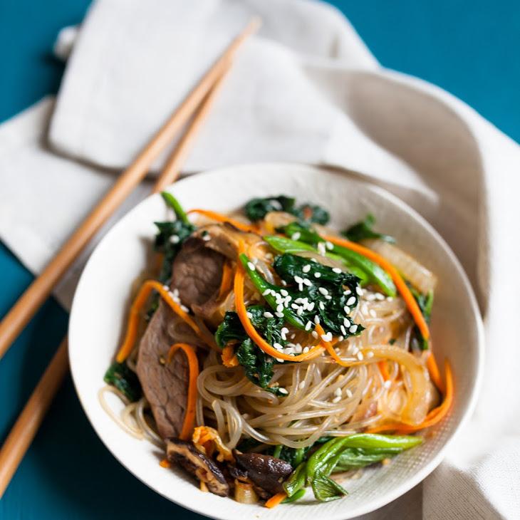 Japchae - Korean Stir-Fried Sweet Potato Noodles Recipe | Yummly