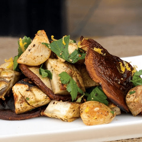 Grilled Artichoke And Shiitake Mushroom Salad With Roasted Garlic