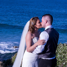 Sea of Love by Mel Stratton - Wedding Bride & Groom ( love, kiss, married, bride, groom,  )