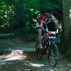 The Drop by John Puddy - Sports & Fitness Cycling ( bike, drop, mountain bike, woodland, race, jump )
