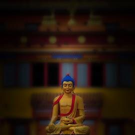 Statue of Buddha  by Tsatsralt Erdenebileg - Artistic Objects Antiques ( statue of buddha, buddhism, monastery, dark photo, dark background, buddha )