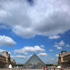 Louvre Pyramid and Clouds by Rich Voninski - Buildings & Architecture Statues & Monuments ( clouds, louvre, pyramid, art, museum )