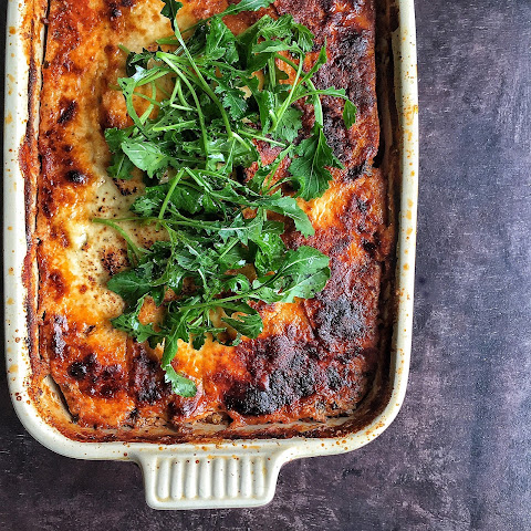 Beef & Sweet Potato Lasagna with Greek Yogurt (Gluten free)