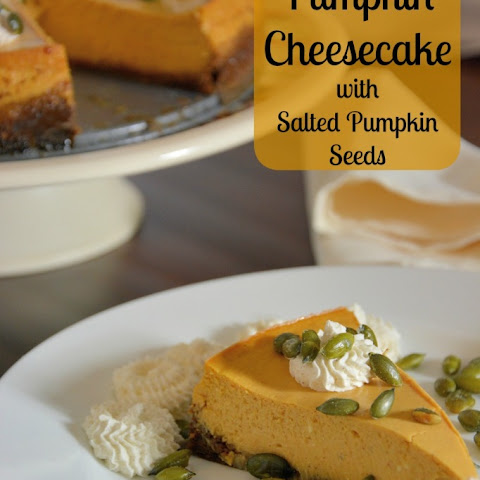 Pumpkin Cheesecake with Spiced Whipped Cream and Salty Pumpkin Seeds