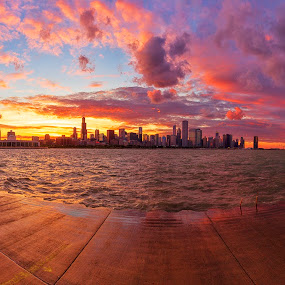 Epic Chicago Sunset... by Jamie Link - Landscapes Sunsets & Sunrises