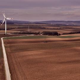 Windmill at work by Michal Fokt - Landscapes Prairies, Meadows & Fields ( windmill, fields,  )