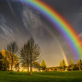 Askim, Norway 183 - Rainbow by IP Maesstro - Landscapes Prairies, Meadows & Fields ( clouds, sky, ip maesstro, hdr, weather, golf, trees, rainbow, askim, rain, norway )